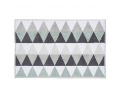 Tapis de bain en coton blanc/gris 50 x 80 cm TRIANGLE