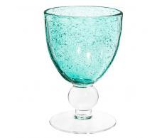 Verre à vin en verre bullé bleu turquoise MINT