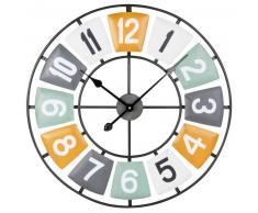 Horloge en métal multicolore