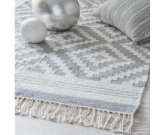Tapis en coton gris motifs jacquard 90x150cm NAVAJO