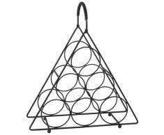 Porte-bouteilles triangle en métal noir