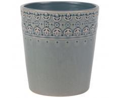 Cache-pot en céramique bleu gris motifs fleurs H14