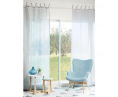 Rideau à nouettes en lin bleu nuage 105x300
