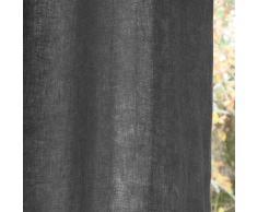 Rideau à œillets en lin lavé anthracite 140x300