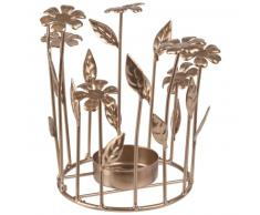 Bougeoir fleurs en métal doré