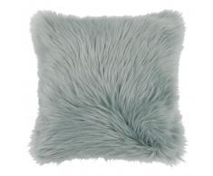 Housse de coussin imitation fourrure bleu gris 40x40