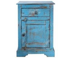 Table de chevet avec tiroir en manguier bleue L 42 cm Avignon
