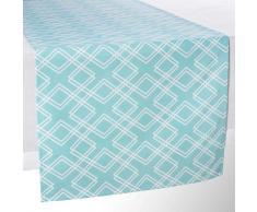 Chemin de table en coton bleu L 150 cm VERA