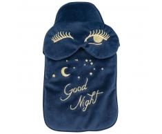 Bouillotte et masque de nuit bleu marine imprimés dorés