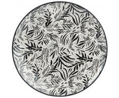 Assiette plate en faïence imprimé feuillage