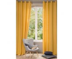 Rideau en lin lavé jaune 130x300