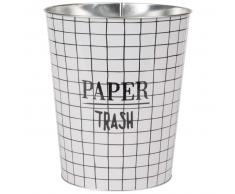 Corbeille à papier en métal motifs à carreaux