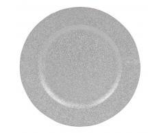 Assiette en plastique à paillettes argentées
