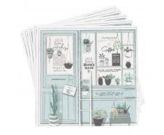 Serviette en papier vert imprimé vitrine