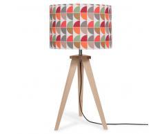 Lampe trépied en bois avec abat-jour à motifs H 60 cm BERLIN