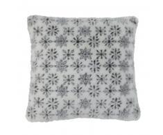 Coussin en fausse fourrure motif flocons 45 x 45 cm FLAKE