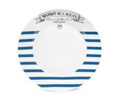 Assiette à dessert à rayures en porcelaine bleue D 20 cm MARINIÈRE