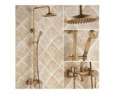"""Robinet de douche et baignoire style antique avec douchette de pluie 8"""" et pommeau de douche"""