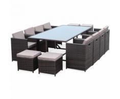 Salon de jardin Vasto Chocolat table en résine tressée 8 à 12 places, fauteuils encastrables