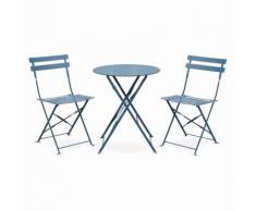 Salon de jardin bistrot pliable Emilia rond bleu grisé, table Ø60cm avec deux chaises pliantes,