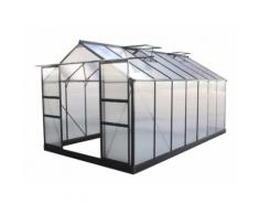Serre de jardin 13,2m² anthracite polycarbonate 4mm + embase Green Protect