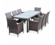 Salon de jardin Tavola 8 Marron Chocolat en résine tressée, table d'extérieur 195cm avec 8