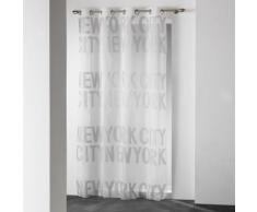Voilage Uni avec Typo en Jacquard Gris 140 x 240 cm - HOMEMAISON