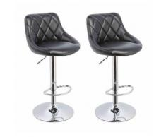 Lot de 2 Tabourets de bar design simili cuir avec dossier noir - HELLOSHOP26