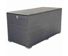 Coffre de rangement ALERIA XL en résine tressée gris brossé - intérieur écru - HAPPY GARDEN