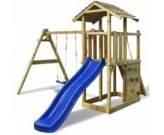vidaXL Portique en bois avec échelle, glissoire et balançoire