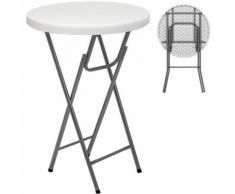 Table de jardin pliante - Table bistrot - Blanc - Ronde d'appoint 110x80cm metal - DEUBA