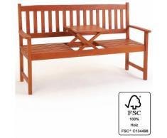 Banc de jardin en bois avec plateau rétractable 3 pers. - Jardin Terrasse Balcon - DEUBA
