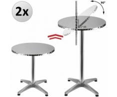 2x Table de bar pliable 2en1 alu hauteur réglable - 70cm/110cm - Cuisine jardin - DEUBA