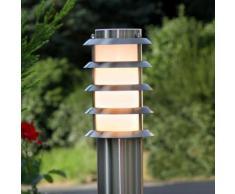 Borne lumineuse Selina inox cadre ajouré lampe d'extérieur inox moderne - LAMPENWELT