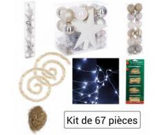 Lot déco Noël - Kit 67 pièces pour décoration sapin : Guirlandes, Boules, Etoiles, Cimier,