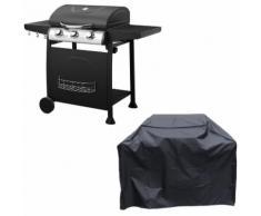 Barbecue au gaz ARKANSAS - 3 brûleurs avec thermomètre + housse - HAPPY GARDEN