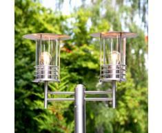 Lampadaire Miko candélabre 2 ampoules inox jardin parc - LAMPENWELT