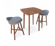 Ensemble table bar Mallorca en bois FSC et résine tressée arrondie, 2 tabourets et 1 table haute,
