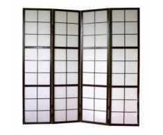 Paravent 4 panneaux pans en bois noir et papier riz 175x176cm - DéCOSHOP26