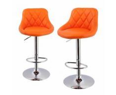 Lot de 2 Tabourets de bar design simili cuir avec dossier orange - HELLOSHOP26