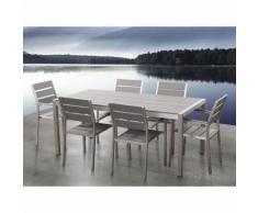 Table de jardin aluminium gris - plateau en polywood 180 cm et 6 chaises - Vernio - BELIANI