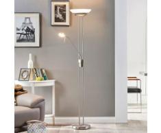 Lampadaire LED Yveta nickel liseuse LED variateur éclairage indirect - LAMPENWELT