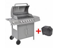 vidaXL barbecue grill à gaz 6+1 foyers argenté