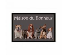 """Tapis d'Entrée Rectangulaire en Polyester """"Maison du Bonheur"""" Gris 40 x 60 cm - HOMEMAISON"""