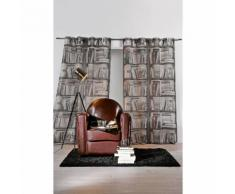 """Rideau en trompe l'oeil """"Bibliothèque"""" Gris 145 x 260 cm - HOMEMAISON"""