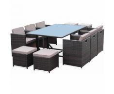 Salon de jardin Vasto Chocolat table en résine tressée 6 à 10 places, fauteuils encastrables