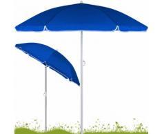 Parasol Bleu inclinable - Hauteur réglable - 180 cm- Jardin/plage/terrasse - DEUBA
