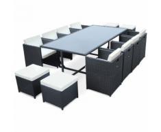 Salon de jardin Vasto Noir table en résine tressée 8 à 12 places, fauteuils encastrables