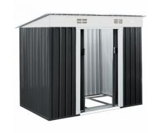 Abri de jardin métal 3,35m³ - Cabane de jardin - Rangement vélos/outils - Gris - DEUBA
