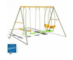 Portique métal 2,20 m avec balançoires, face à face et nacelle pour 6 enfants - M&S